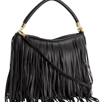 Black Shoulder Bag With Fringe