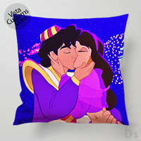 Walt Disney Prince Aladdin Princess Jasmine Pillow Case, Chusion Cover ( 1 or 2 Side Print With Size 16, 18, 20, 26, 30, 36 inch )