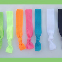 7 Elastic NEON HAIR TIES, No Tug, No Crease, No Dent, Neon Colors, Gift for Teen, Happy New Year 2013 Gifts Under 10