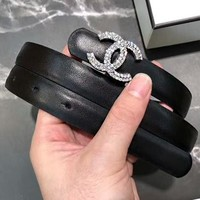 "Hot Sale ""CHANEL"" New Fashion Woman Diamond Double C Buckle Leather Belt Black I-KWKWM"