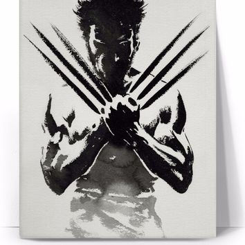 Charcoal Sketch Black and White Logan Wolverine Canvas