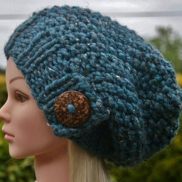Hand Knit hat- Women's hat- Teal tweed with big coconut button- winter hat- Rustic Mega Chunky with wool