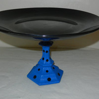 New Item    Cake Plate Handpainted Blue with Black Polka Dots