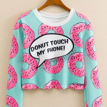 Donut Letter Print  Long Sleeve Cropped Sweatshirt