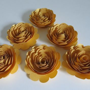 "50th Anniversary Decorations, 6 Metallic Gold Roses, 3"" Paper Flowers Set, Golden Years Celebration Party, Wedding Decorations, 100th Birthday Bash"