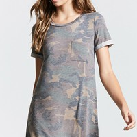 Pocket Camo T-Shirt Dress