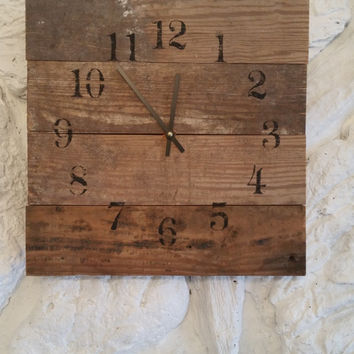 Black Reclaimed Barn Wood Clock 14x14 Recycled Like Pallet Clock Rustic Primitive Shabby Cottage Chic Handmade Made in USA Christmas Gift