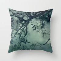Pillow Cover, Tree Throw Pillow, Teal Pillow, Pine cone Tree Photo Pillow, Living room decor, Bedroom Accent Pillow, 16x16 18x18 20x20 decor