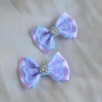 Mini hair bow - pastel blue and lavender purple - fairy kei decora lolita harajuku romantic kitten play princess fashion kawaii costume prop