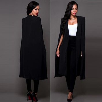 Fashion Womens Long Cloak Cape Blazer Suit Jacket Coat Trench Poncho Outwear USA