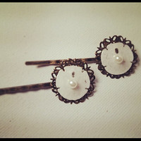 Real Sand Dollar Bobby Pins- Pair