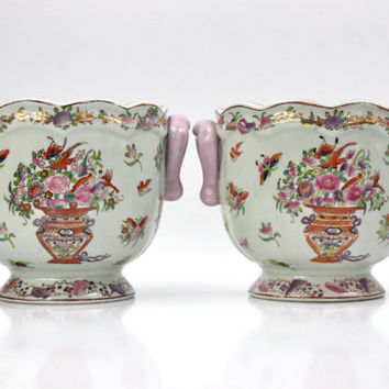 Pair Chinese Cache Pots / Porcelain Jardinière / Marked Yong Sheng Cai Ci Chang / Floral Home Decor