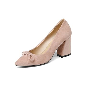 Women Pointed Toe Chunky Heels Pumps High Heel Shoes 6260