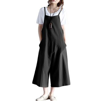 Women Loose Suspender Trousers Solid Color Casual Overalls Jumpsuit Female Wide Leg Long Pants Pockets Playsuit Rompers