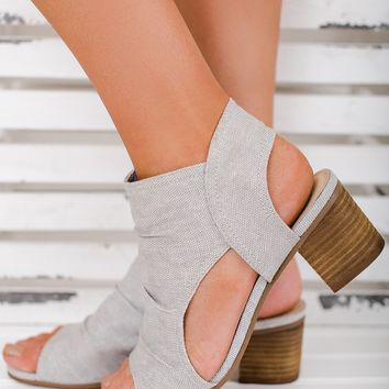 Teagan Open Toe Not Rated Booties (Light Grey)