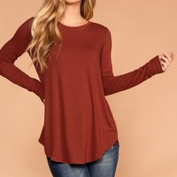 Krysha Rust Round Neck Long Sleeve Top