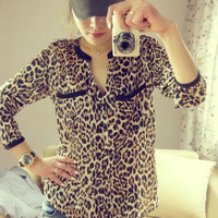 Exclusive!! Hot Sale 2014 New Fashion Women Star Print Leopard Print Chiffon Blouse PLUS SIZE = 1876616196