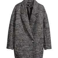 H&M - Melange Coat - Black - Ladies