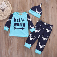 3pcs suit !!! Baby Boy Girl Kids Newborn Infant Romper+ Hat +Trousers Outfits Clothing Set