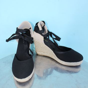 Bamboo Black Lace-up Espadrille Wedges