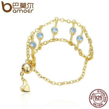 Genuine 925 Sterling Silver & Gold Color Tassel Chain Rope Finger Rings Women Wedding Anniversary Jewelry Anel SCR091