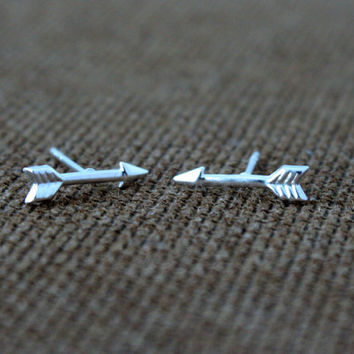 Silver Arrow Plain Earrings. Children Jewelry. Minimalist Jewelry. Tiny Stud Earring. Hypoallergenic Studs.