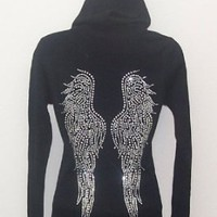 Grand Angel Wings Ab Rhinestones Black Hoodie Xl 2xl 3x (2XL)