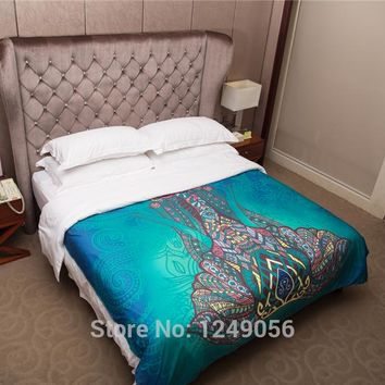 High Quality Cotton Indian Blue Elephant Tapestry Bohemian Multi-sizes Art Hippie Wall Hanging Tapestries Bedspreads Bed Sheets