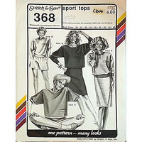 Misses Sport Tops Stretch & Sew 368 Vintage Pattern 1988 Bust Size 30-46 c806