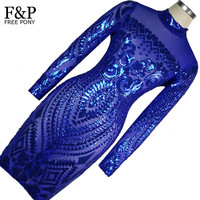 1920s Flapper Dress Blue Tattoo Sequin Bodycon Dress Long Sleeve Vintage Gatsby Dress Womens Sexy Dresses Party Night Club Dress