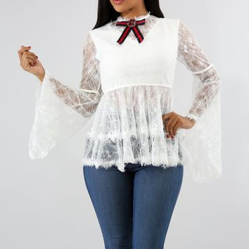 Karlene White Lace Bow Blouse