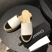 Chanel Women Fashion Leather summer Casual Flat Sandals White