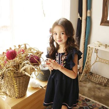 Summer New Girl Cotton Linen Cute Little Kids Flying Sleeves Dress with Embroidered National Style Pink/ Dark Blue Girls Dress