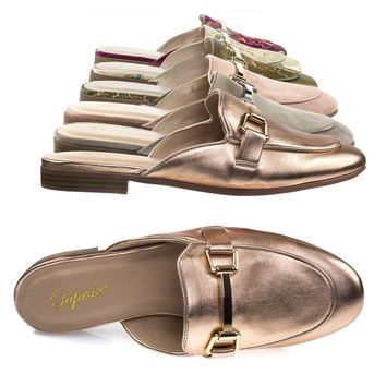Garson Dark Penny Gold By Paprika, Women's Gold Tone Horsebit Hardware Backless Slip On Loafer