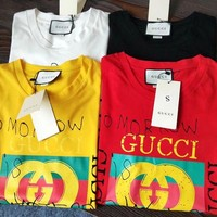 """Gucci"" Stylish Women Men Leisure Print Short Sleeve T-Shirt Pullover Top I"