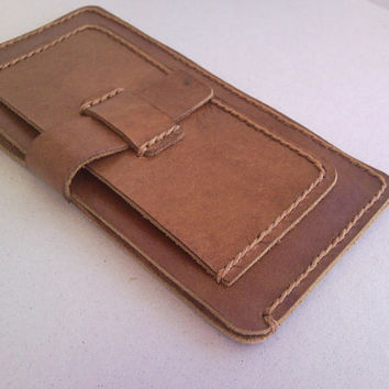 Samsung Galaxy S5  S4  Case  /  HTC One  Case -Light Brown Leather Sleeve Wallet - Card Holder -100% Natural - Exclusive Color