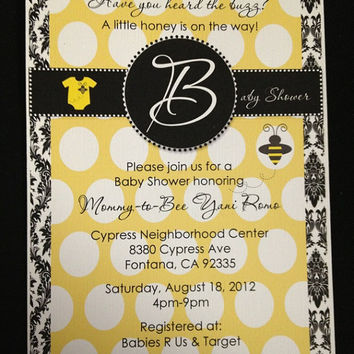 25 Bumble Bee Yellow & White Polka Dot with Black Damask  Baby Shower  Invitation