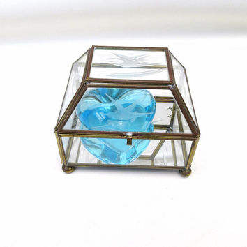 Vintage Glass Brass Box, Mirrored Jewelry Box, Etched Glass Display, Hinged Box