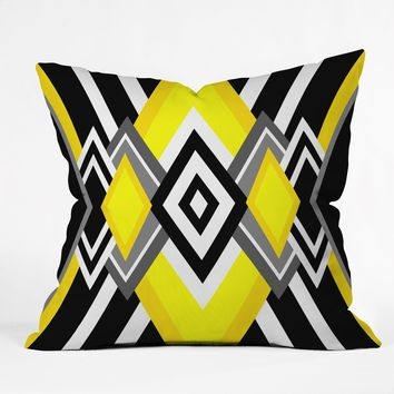 Elisabeth Fredriksson Yellow and Black Throw Pillow
