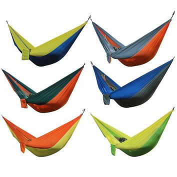 DCCK7N3 Portable Outdoor Hammock 2 Person Camping Hiking Travel Kits Garden Leisure Hammock 6 Colors Parachute Hammocks