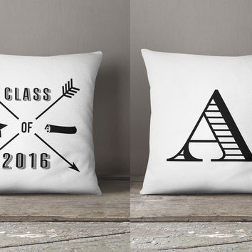 Class of 2018 personalized monogram pillow gift