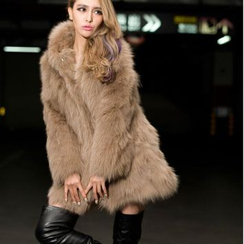 2017 Europe and the United States wind imitation fox fur long section with fur fur coat autumn and winter coat female