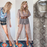 70s Grey Paisley Long Sheer Duster Dress One Size | Long Vest Cape Button Down Maxi Dress Waistcoat 1970s Boho Gypsy Button Front Goth Dress