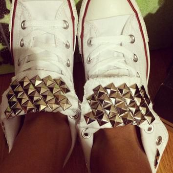 Custom Studded White Converse All Star -Chuck Taylor High Tops! ALL SIZES & COLORS!