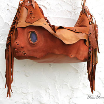 BrownTribal leather raw edges gypset rusted orange brown distressed  fringed bag fringe raw tote brown autumn fall hobo tribal