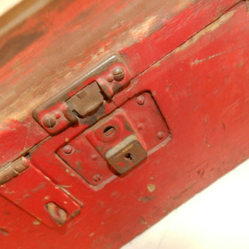 Vintage Red Wood Tool Box/Storage Box/Divided Box