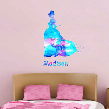 kcik1969 Full Color Wall decal Watercolor Character Disney Cinderella Sticker Disney Girl name personalized Child's name