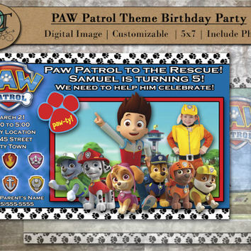 Custom PAW Patrol Birthday Party Invitations 5x7 Digital Image Graphic Design Party Invites Paw Patrol Cartoon Photograph
