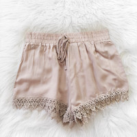 Crochet Trim Shorts (Taupe)