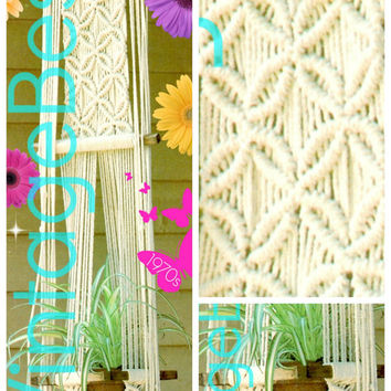 Plant Hanger Macrame Pattern 1970s Vintage Planter Lovingly ENLARGED Print Diagrams Instant Download PDF Pattern